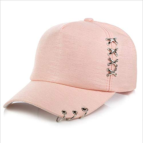 Mdsfe dames heren baseballcap zonnehoed wit roze zomer zonnehoed voor heren ring ijzer k3411 PINK-a3411
