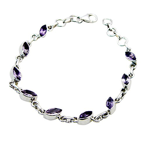 Jewelryonclick Natural Amethyst Sterling Silver Bracelets For Women Lobster Claw Bezel Style Jewelry Gift