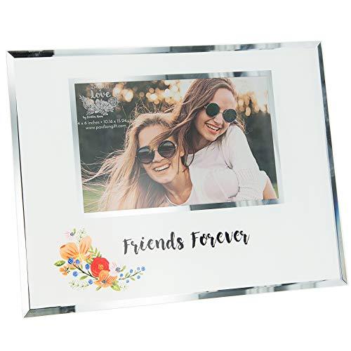 Pavilion Gift Company Friends Forever-Marco de fotos con diseño floral de cristal, efecto espejo, color blanco