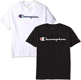 Champion Men's Classic Jersey Script T Shirt -3 Piece Bundle Includes 2 Shirts Free BE Bold Gym Tote Bag Genie Outlet