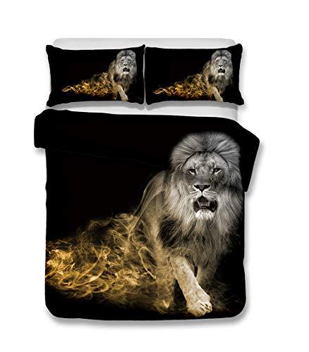 Funda nórdica Elefante León Leopardo Oso Polar Águila Fantasma Nube Humo 3D Animal Ropa de cama Niños Niños, Juego de cama Negras Funda nórdica y Funda de almohada (león, 200x230 cm-Cama 135 cm)