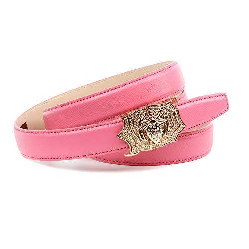 Anthoni Crown Ledergürtel Cintura, Colore: Rosa, 90 cm Donna