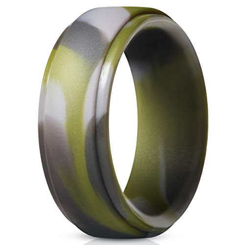 Men s Silicone Ring, Step Edge Rubber Wedding Band, 10mm Wide, 2.5mm Thick (1 Ring - Green Camo, 7.5-8 (18.2mm))