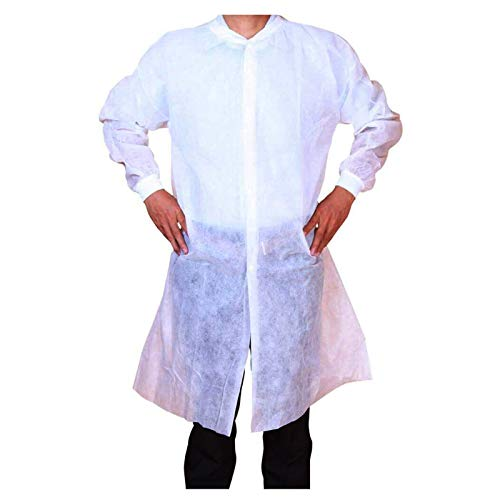 Cleaing Disposable Lab Coats for Adult 10 Pack, XX-Large, with Knitted Collar and Cuffs