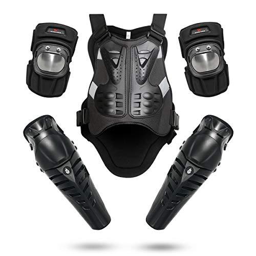 WOSAWE Motorrad Brust Rüstung Rückenprotektor Motocross Rennsport Weste Knieschoner Ellenbogenschoner Handgelenkschoner Sets für Skifahren Reiten Skateboarding