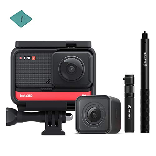 Insta360 ONE R Twin Edition Dual Lenses Sports Action Camera (5.7K 360° Panorama Lens + 4K Wide Angle Lens) +Insta360 Bullet Time Bundle Selfie Rod