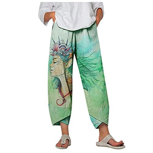 Pantalones largos de verano para mujer, de algodón de verano, con cintura alta, cómodos H S