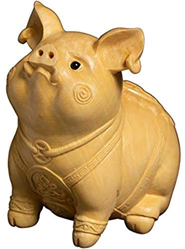 LULUDP-Decoración Zen Decoración Boxwood Lucky Pig Zodiaco Animal Talla Artesanía Escultura Estatua Decoración Ilustraciones Manualidades (Color : Default)