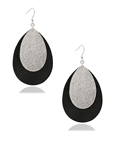 missaqua Teardrop Leather Earrings Layer Metallic Genuine Leather Leaf Statement Trendy Earrings for Women Girls
