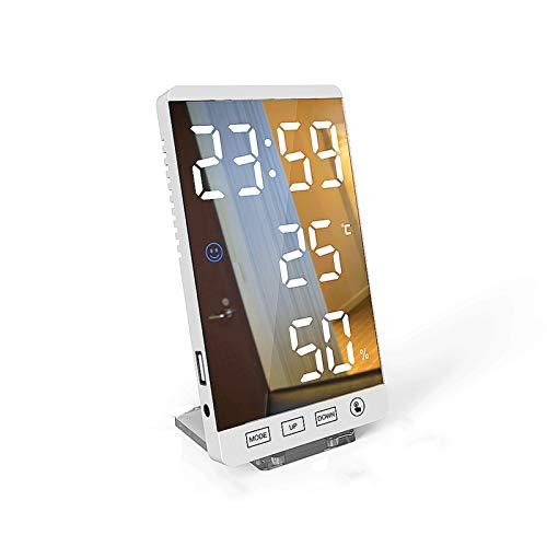 WXFF Inteligente LED Espejo Reloj Despertador botón táctil Pared Reloj Digital Tiempo Temperatura Humedad Pantalla USB Salida Portuaria Reloj 6 Pulgadas Siesta Temporizador Despertador (Color : C)