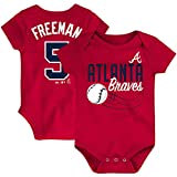 Outerstuff MLB Newborn Infants Baby Slugger Name and Number Player Jersey Bodysuit Creeper (24 Months, Freddie Freeman Atlanta Braves Red)