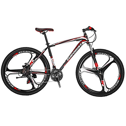 Eurobike X1 Mountain Bike 21 Speed 27.5 Inch K Wheels Dual Disc Brake Mountain Bicycle Black Red