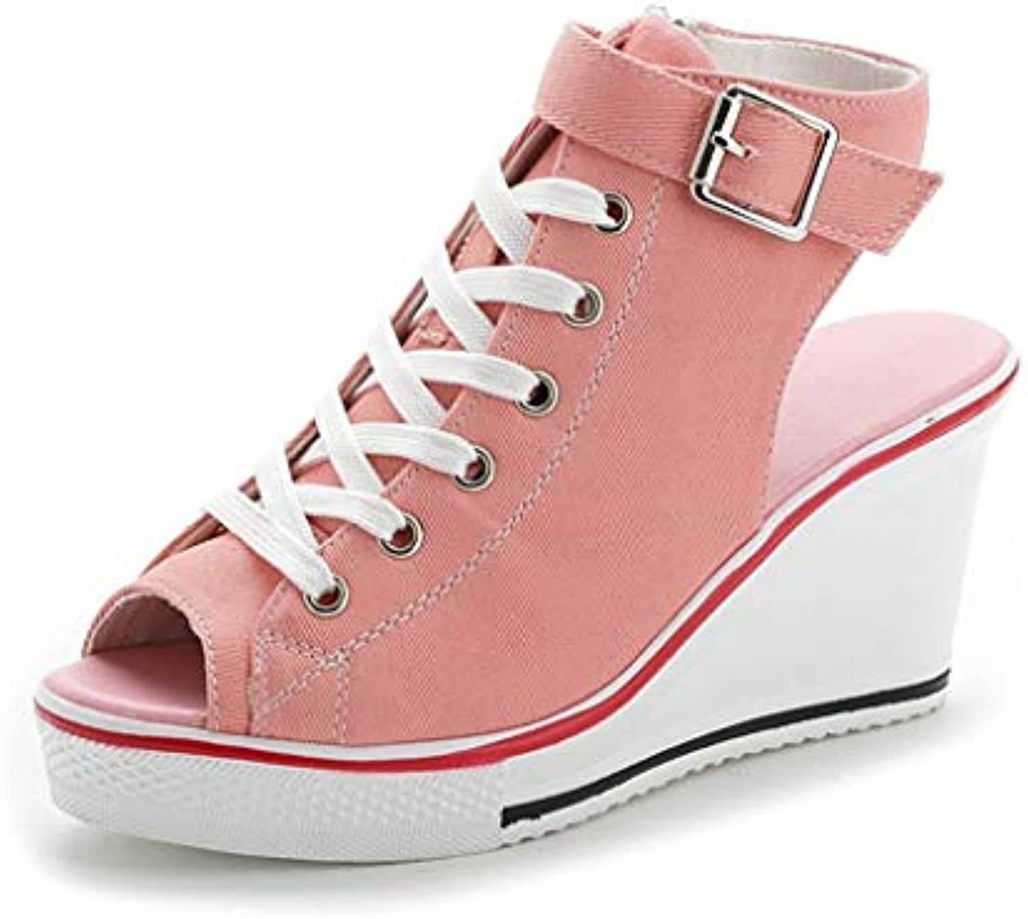 Women Wedges Canvas, Lady Large Size shoes High shoes Adjustable Buckle Peep Toe Creepers High-top Fish Mouth Hollow Sandals