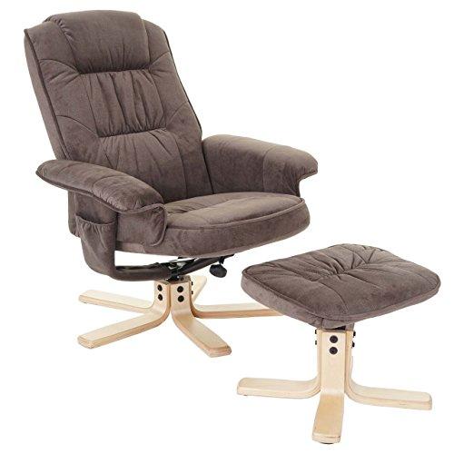 Mendler Relaxsessel M56, Fernsehsessel TV-Sessel mit Hocker, Stoff/Textil - Wildlederimitat
