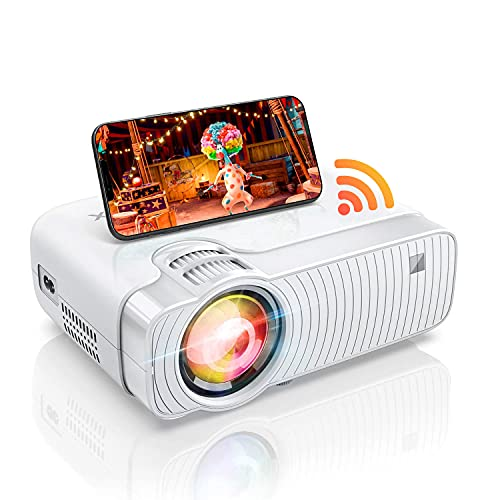 """WiFi Mini Projector for iPhone, HD 1080p & 100"""" Display Supported Video Projector for Outdoor Movies/Office PPT Ultra-Portable, Compatible with Laptop, HDMI, TV Stick, Android"""