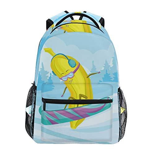 Lustiger Banana Snowboard-Rucksack mit großer Kapazität, Schultasche, Leinen für unterwegs, ideal für Damen, Herren, Mädchen und Jungen