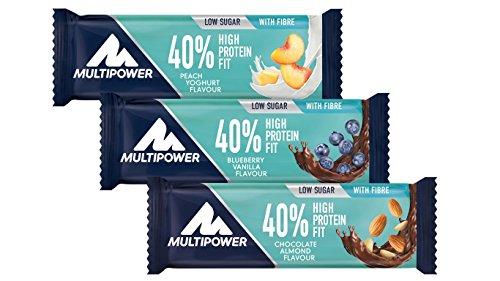 Multipower 40% Protein Fit – 24 x 35 g Eiweißriegel Box – Mix Box – Fitnessriegel mit 40 % hochwertigem Milchprotein – 14 g Eiweiß pro Proteinriegel