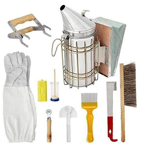 Sanfiyya Bienenzucht Tool Kit Bienenzucht Zubehör Starter Kit Werkzeuge Zubehör Beehive Smoker für Imker Ausrüstung Profigarten