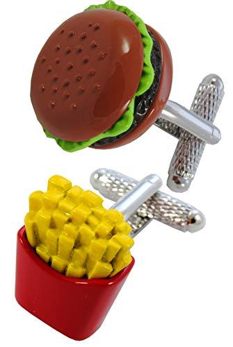 COLLAR AND CUFFS LONDON - HOCHWERTIGE Manschettenknöpfe mit Geschenk Box - Burger und Pommes - Lebensmittel Restaurant Chips - Stilvolle Messing - Braun Rot und Gelb Farben