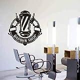 Peluquería logo etiqueta de la ventana decoración de peluquería logo de barbero peluquería vinilo pared calcomanía extraíble mural decorativo A4 42x43cm