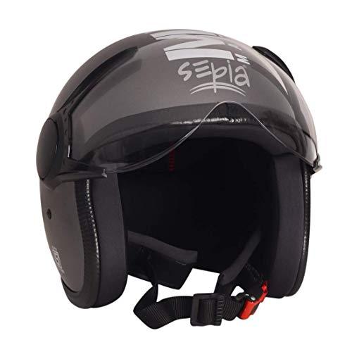 Sepia Muscle Rider Open Face Helmet (Metallic Grey, M)