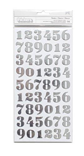 American Crafts DIY Shop 3 Thickers Autocollants 15 x 28 Feuilles Chiffres/Aluminium argenté pour aggloméré, Acrylique, Multicolore