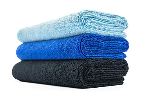 (3-Pack) THE RAG COMPANY 16 x 27 Sport, Gym, Exercise, Fitness, Spa & Workout Towel - Ultra Soft, Super Absorbent, Fast Drying 320gsm Premium Microfiber (Royal Blue/Light Blue/Black, 16x27)