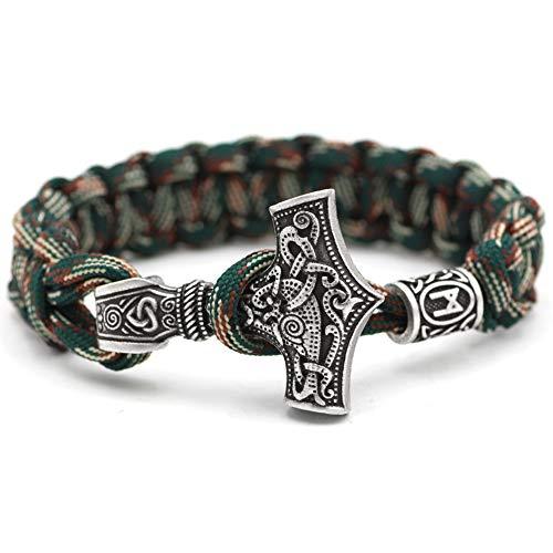 YABEME Nordic Viking Thor's Hammer Braccialetto Amuleto Braccialetto Acciaio Inossidabile Tessuto A Mano Polsino Corda Gioielli da Uomo E da Donna Regalo Rune Beads Casuale,9.05 Inch
