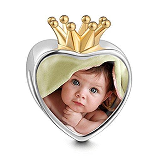 SOUFEEL Abalorio Charm Pulsera de Foto Personalizado Plata de Ley Navidad Cumpleaño y Aniversario para Madre Mujer Niña