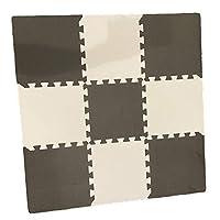 (Muu3) ジョイントマット タイルカーペット サイドパーツ付き 30cm 厚さ 10mm 9枚セット (ブラック×ホワイト, 9)