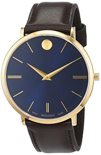Movado Heren Analoog Klassiek Quartz Horloge met Lederen Band 607088