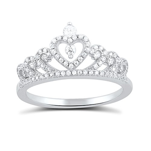 Sterling Silver Cz Heart Crown Ring - Size 7