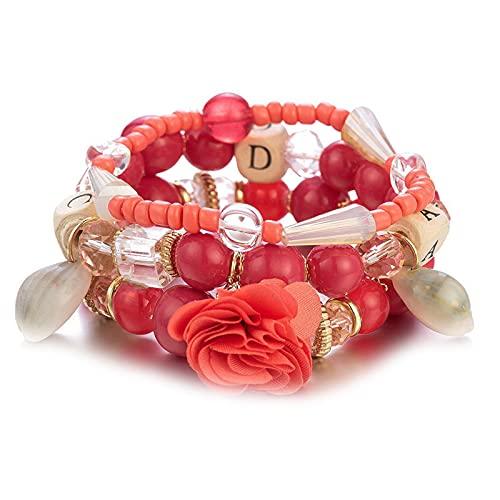 1 pulsera con cuentas rojas multicapa para niñas, colgante de flor de Carolina del Norte