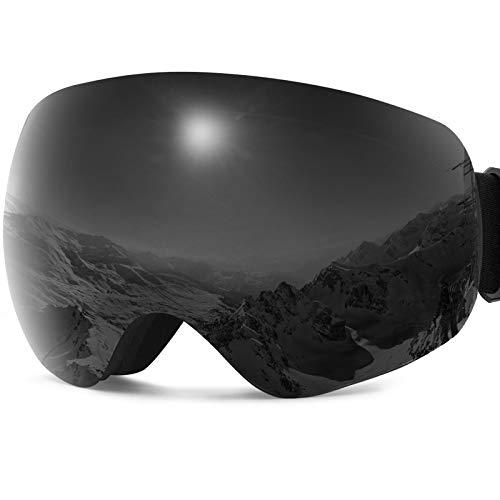 JOJO LEMON Ski Goggles Black OTG Winter Snowboard Snow Sports Goggles for Men Women & Youth UV Protection Anti Fog Double Lens Interchangeable