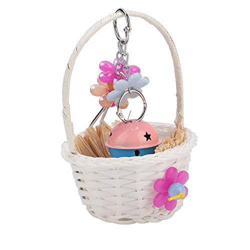 HEEPDD Parrot Foraging Toy Bird Swing Basket with Flower Bell Natural Raffia Bite Cage Toys for Parakeet African Grey Amazon Cockatoo Budgies Cockatiel