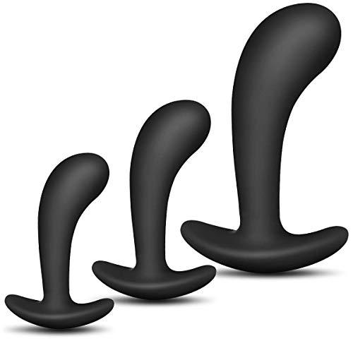 3-teiliges Set Änàles Trainer Kit – Bùt.`plùgs Anfänger Rücken-Perlen-Massage-Set (schwarz)