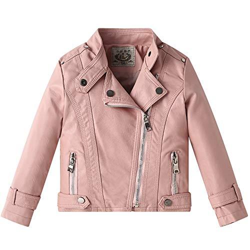SXSHUN Kinder Motorrad Lederjacke PU Leder Jungen Mädchen Outwear Kleidung Mantel Biker Style Jacke für Herbst, Rosa, 122/128 (Etikettengröße:130)