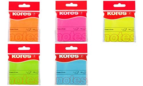 Kores n47076 Notes autocollantes, 75 x 75 mm, blanches, jaune fluo