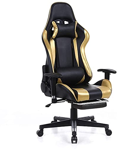 TAIDENG Office Chairs Ergonomic Gaming Chair Home Office Computer Desk Chair With Lumbar Support And Padded Armrests Designed For Young Generation, Leather Exclusive Swivel Chair (Color : Yellow)