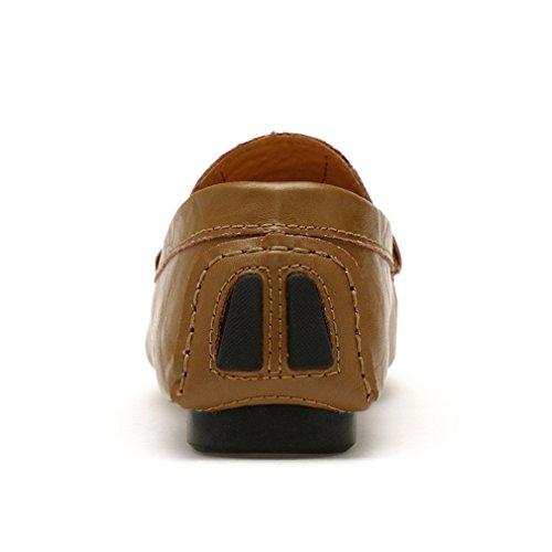 XMWEALTHY Men's Breathable Premium Artificial Dress loafers Khaki US 13