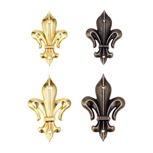Die Halterung ist auf rechten Winkeln und Ecken befestigt 4Pcs Metallecken Kantenschutz Messing/Gold Möbel Dekorative Eckwinkel Schmuckschatulle Holz-Kasten Füße Bein Eckenschutz