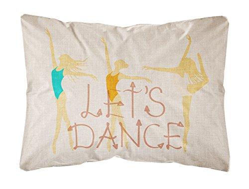 Caroline 's Treasures bb5376pw1216Let 's Dance Leinen Licht Canvas Stoff Dekoratives Kissen, 12hx16W, Multicolor