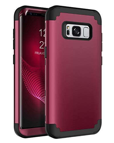 """BENTOBEN Case for Galaxy S8 5.8"""", Heavy Duty Full Body Rugged Shockproof Hybrid Three Layer Hard Plastic Soft Rubber Bumper Protective Phone Cases Cover for Samsung Galaxy S8 5.8"""", Wine Red/Burgundy"""