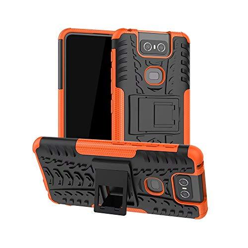 TiHen Handyhülle für Asus Zenfone 6 ZS630KL Hülle, 360 Grad Ganzkörper Schutzhülle + Panzerglas Schutzfolie 2 Stück Stoßfest zhülle Handys Tasche Bumper Hülle Cover Skin mit Ständer -Orange
