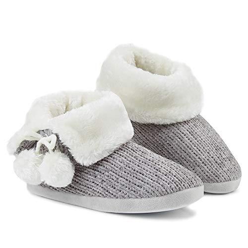 Zapatillas de Mujer con Perro Peluche Super Suave Zapatilla de Invierno Mujeres (36/37 EU, Punto de Terciopelo Gris)