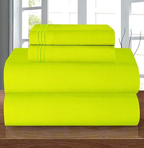 Elegant Comfort Juego de sábanas de Lujo Suave de 1500 Hilos, Calidad egipcia, 3 Piezas, Resistente a Las Arrugas y a la decoloración, Bolsillo Profundo, Microfibra, Verde Lima, Matrimonio