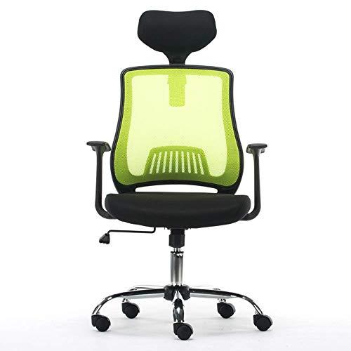 JIEER-C bureaustoel, multifunctionele zitting, ademend, ergonomisch design, verstelbare hoofdsteun, kantelbaar, kogellagers 250 kg, 4 kleuren (kleur: rood) Groen