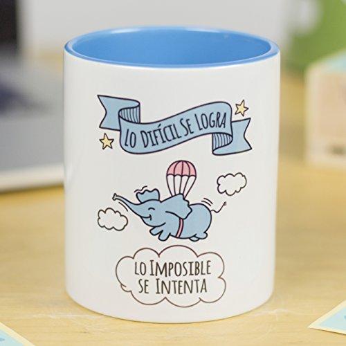 La Mente es Maravillosa - Taza con Frase y dibujo. Regalo original y gracioso (Lo imposible se logra, lo difícil se intenta) Taza Diseño Cerdifante