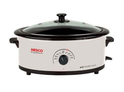 Nesco 4816-14G-30 6-Quart Roaster Oven with Glass Lid, Non-Stick Cookwell, Ivory