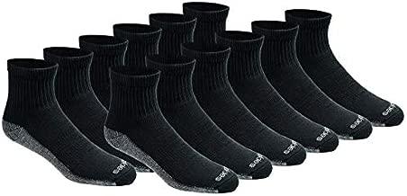 Dickies Men's Dri-tech Moisture Control Quarter Socks Multipack, Black (12 Pairs), Shoe Size: 6-12
